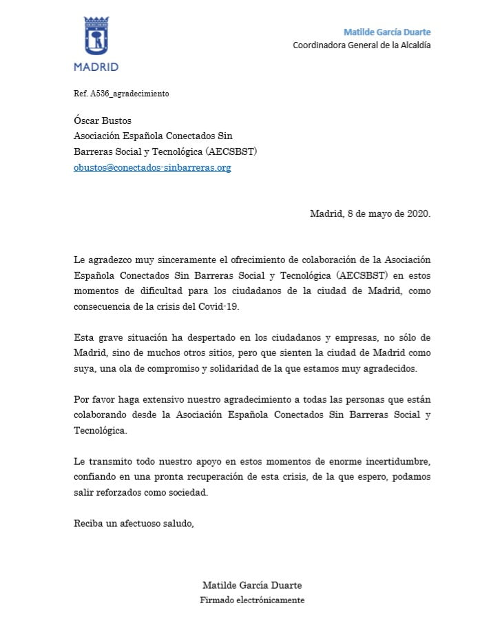 Carta Ayuntamiento de Madrid